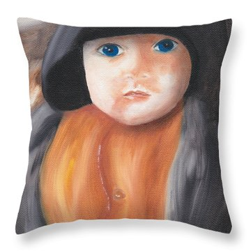 Child With Hood Throw Pillow
