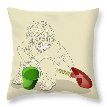 Throw Pillow featuring the digital art Child With Sand Toys by MM Anderson