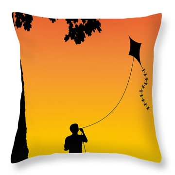 Childhood Dreams 1 The Kite Throw Pillow by John Edwards