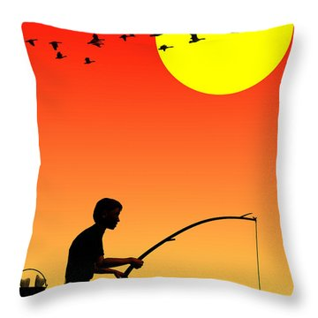 Childhood Dreams 3 Fishing Throw Pillow by John Edwards