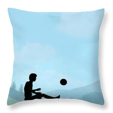 Childhood Dreams Football Throw Pillow by John Edwards