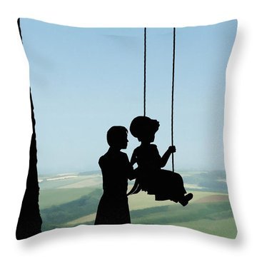 Childhood Dreams Push Me Throw Pillow by John Edwards