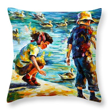 Childhood Throw Pillow by Leonid Afremov