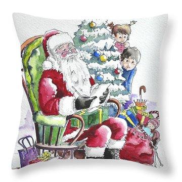 Childre Sneaking Around Santa Throw Pillow