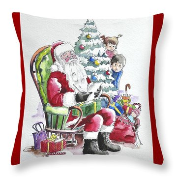 Childre Sneaking Around Santa Throw Pillow