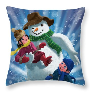 Children And Snowman Playing Together Throw Pillow