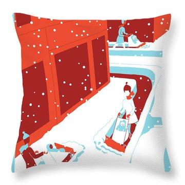 Snowplows Throw Pillow