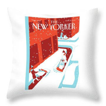 Snowplows Throw Pillow