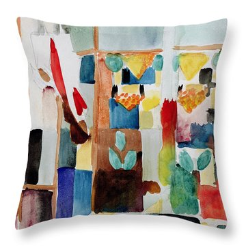 Children At The Greengrocers I Throw Pillow by Franz Marc