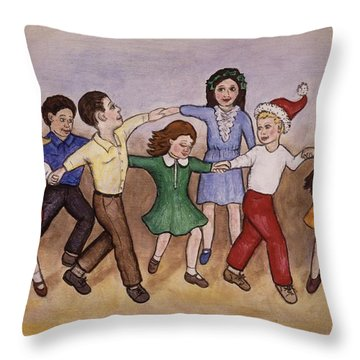 Children Dancing Throw Pillow by Linda Mears