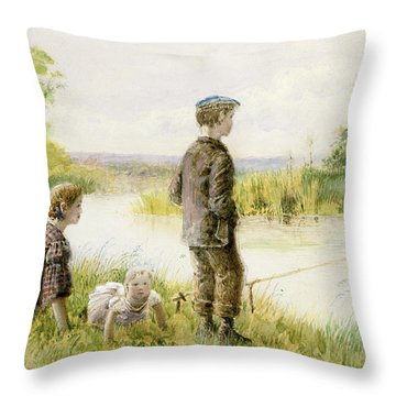 Children Fishing By A Stream Throw Pillow by George Goodwin Kilburne