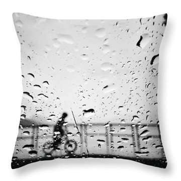 Children In Rain Throw Pillow