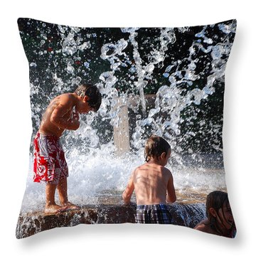 Children In The Fountain Throw Pillow