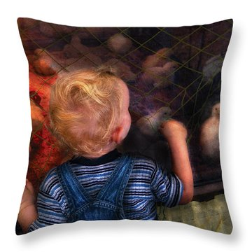 Children - Look At The Baby Throw Pillow by Mike Savad