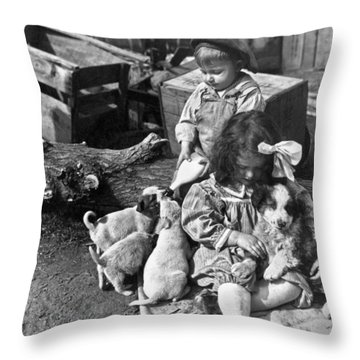 Children On Farm With Puppies Throw Pillow by Underwood Archives