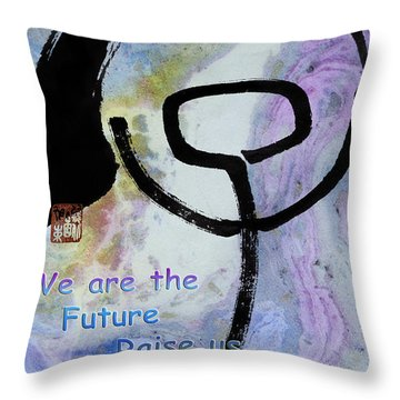 Throw Pillow featuring the mixed media Children Raise Us Well by Peter v Quenter