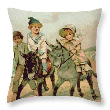 Children Riding Donkeys At The Seaside Throw Pillow