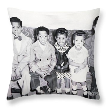 Children Sitting On Sofa Throw Pillow