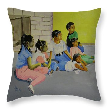 Throw Pillow featuring the painting Children's Attention Span  by Thomas J Herring