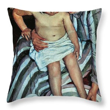 Child's Bath Throw Pillow by Mary Cassatt