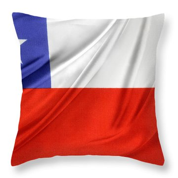Chile Flag  Throw Pillow by Les Cunliffe