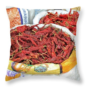 Chili At The Market Throw Pillow
