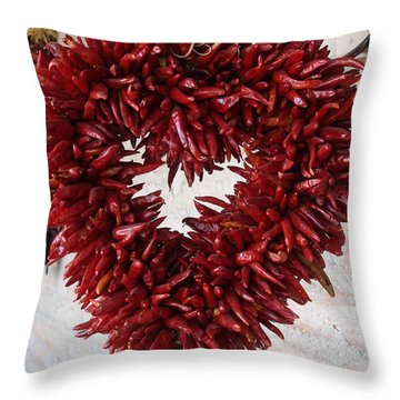 Throw Pillow featuring the photograph Chili Pepper Heart by Kerri Mortenson
