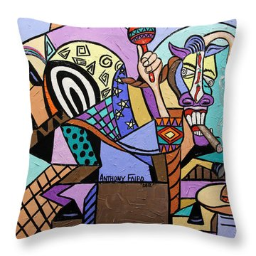 Chilli Pepper Mexican Dancing Horse Throw Pillow by Anthony Falbo