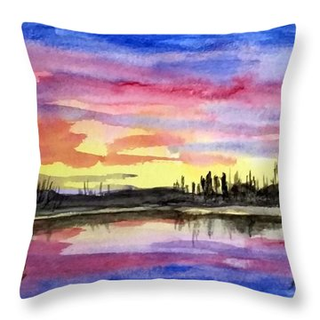 Chilly Morning Sunrise Throw Pillow