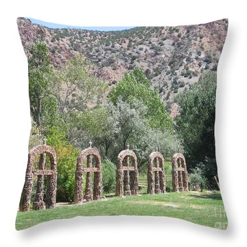 Throw Pillow featuring the photograph Chimayo Sanctuary In New Mexico by Dora Sofia Caputo Photographic Art and Design