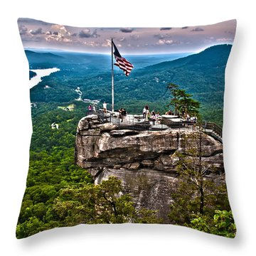 Throw Pillow featuring the photograph Chimney Rock At Lake Lure by Alex Grichenko