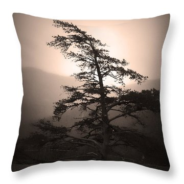 Chimney Rock Lone Tree In Sepia Throw Pillow