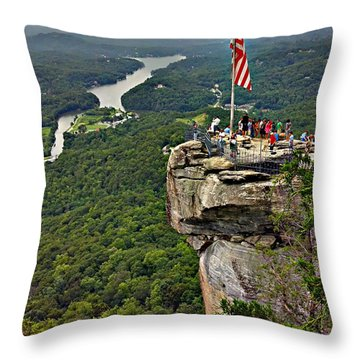 Throw Pillow featuring the photograph Chimney Rock Overlook by Alex Grichenko