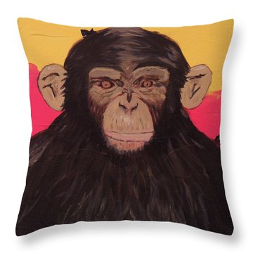 Chimp In Prime Throw Pillow