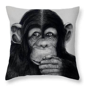 Chimp Throw Pillow by Jean Cormier