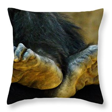 Chimpanzee Feet Throw Pillow