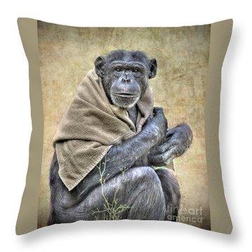Throw Pillow featuring the photograph Chimpanzee by Savannah Gibbs
