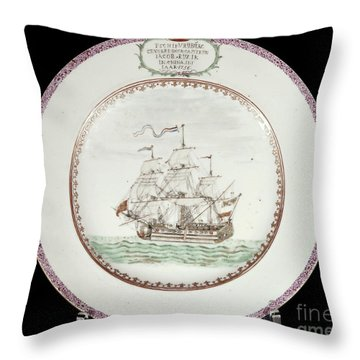 China - Dutch Ship 1756 Throw Pillow by Granger
