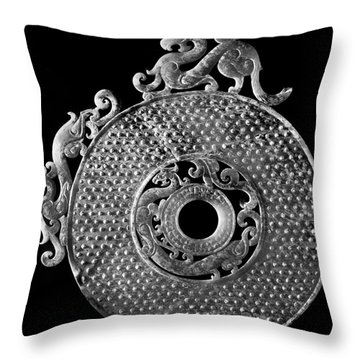 China - Jade Disk Throw Pillow by Granger