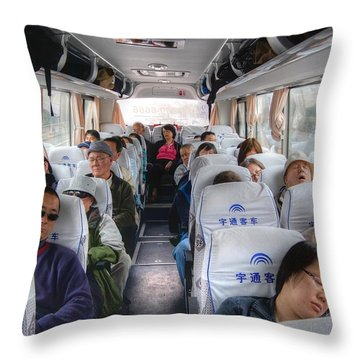 China Bus Ride  Throw Pillow