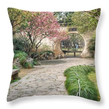 China Courtyard Throw Pillow