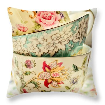 China Cups Throw Pillow