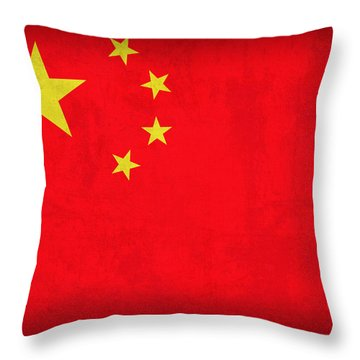 China Flag Vintage Distressed Finish Throw Pillow