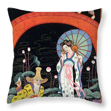 China Throw Pillow by Georges Barbier
