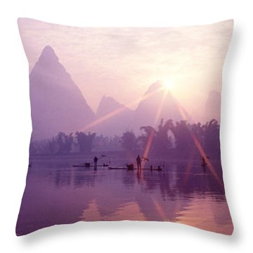 China, Guilin, Fishermen Throw Pillow