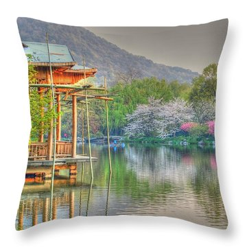 China Lake House Throw Pillow