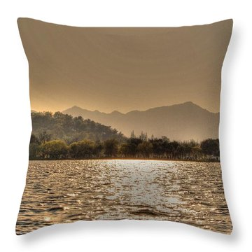 China Lake Sunset Throw Pillow