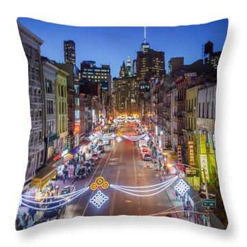 China Town Nyc  Throw Pillow