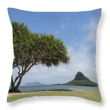 Chinamans Hat With Tree - Oahu Hawaii Throw Pillow by Brian Harig