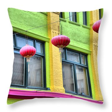 Chinatown Colors Throw Pillow